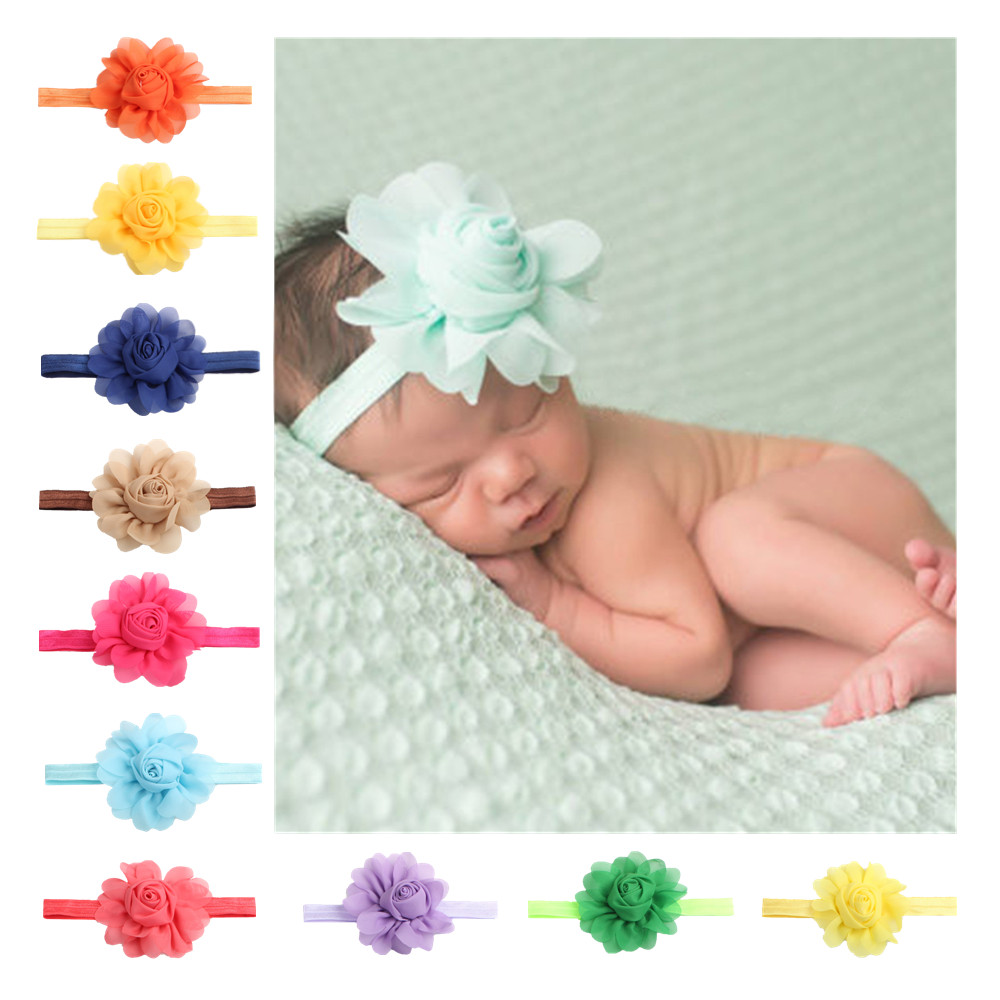 1pc Colorful Baby Girl Hair Band Headband Flower Hair Band Rose Chiffon Headband Children's Headband Hair Accessories