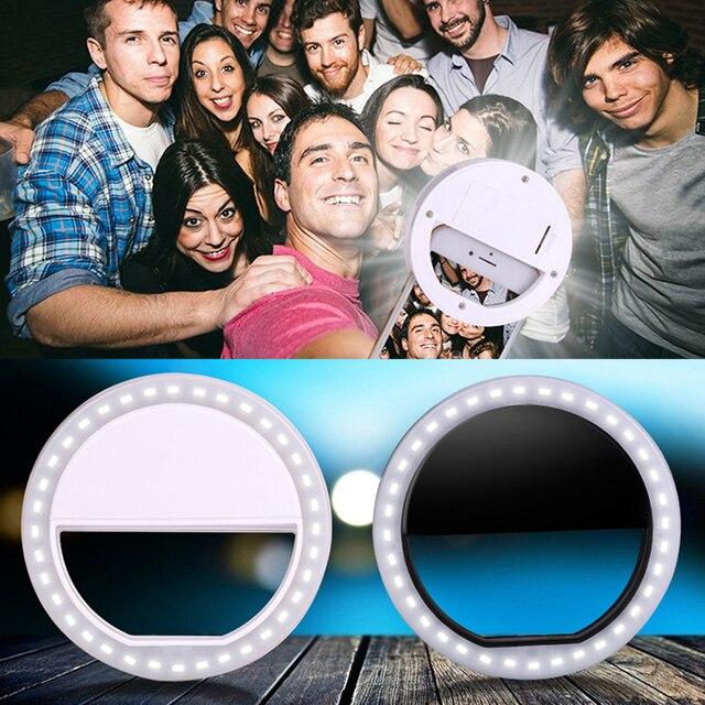 Klips do telefonu Selfie LED Light Up pierścień flash do Selfie fotografia światła Luminous jasny pierścień światło dla Smartphone 3 poziomy jasności