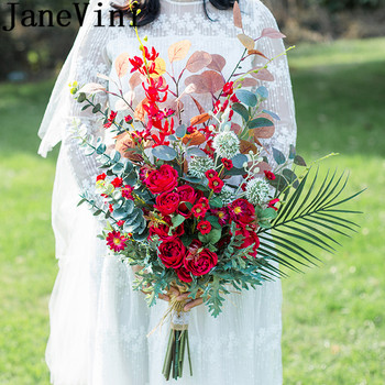 JaneVini Flores Boda Red Flowers Wedding Bouquet for Brides Artificial Rose Peony Western Bridal Brooch Green Leaf Bouquets 2019 leaf floral artificial gem oval rhinestone brooch