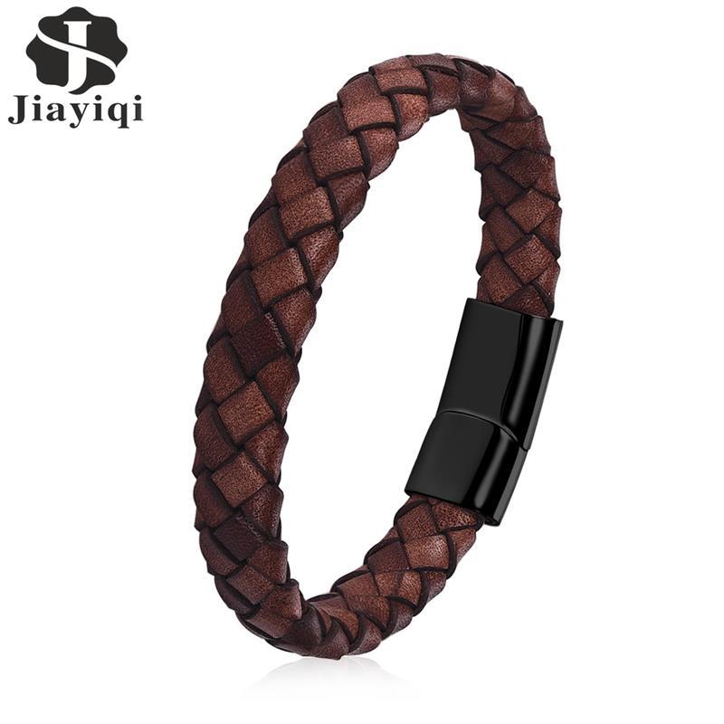 Jiayiqi Punk Männer Schmuck Braun Braid Echtes Leder Armband Edelstahl Magnetische Verschluss Armreifen 18,5/22/20,5 cm