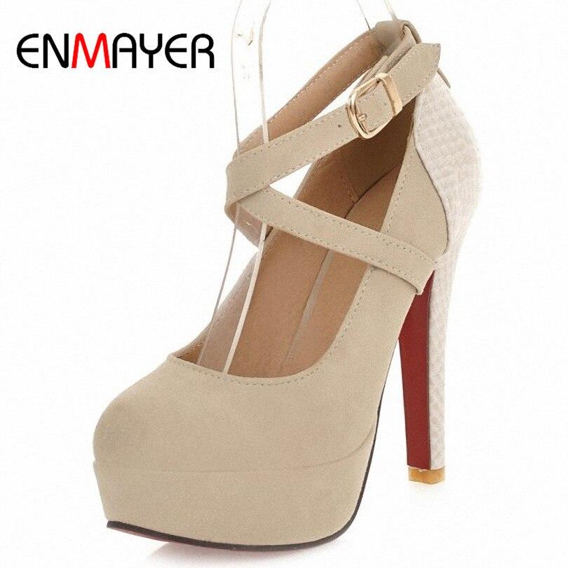 ENMAYER Fashion Platform Pumps Sexy High heeled Shoes Heels Round Toe Platform Shoes Women s Wedding