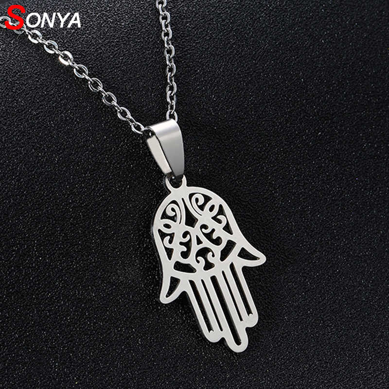 SONYA New Stainless Steel Open Hamsa Hand Necklaces for Women Light silver Color Hamesh Hand Jewelry Hand of Fatima Pendant Arab