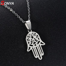 SONYA New Stainless Steel Open Hamsa Hand Necklaces for Women Light silver Color Hamesh Hand Jewelry Hand of Fatima Pendant Arab(China)