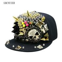 GBCNYIER Skull Fashion Unisex Hip Hop Hat Cool Dance Show Hiphop Cap Team Show Fashion Sport Visor Adjustable Cotton