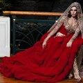 2015 recién llegado de borgoña cristalino moldeado alto bajo asimétrico árabe vestidos noche vestidos de noche de manga larga de lujo