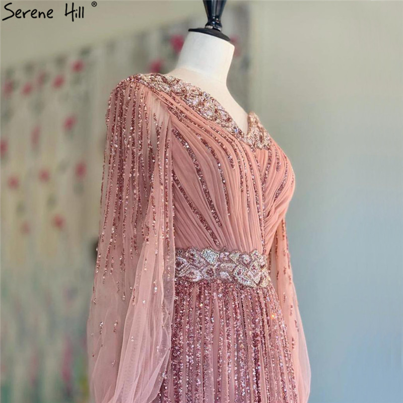 Dubai Design Pink V-Neck 2019 Evening Dresses Sequined Long Sleeves Luxury Evening Gowns Serene Hill LA60948