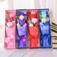 Criativo simulação rose bouquet de flores artificiais 9 caixa de presente do Dia Dos Namorados romântico flor presentes sabão