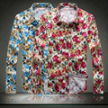 2017 summer spring new shirt men flowers printed men shirt big size 5XL loose Floral printing desinger long sleeve men shirts