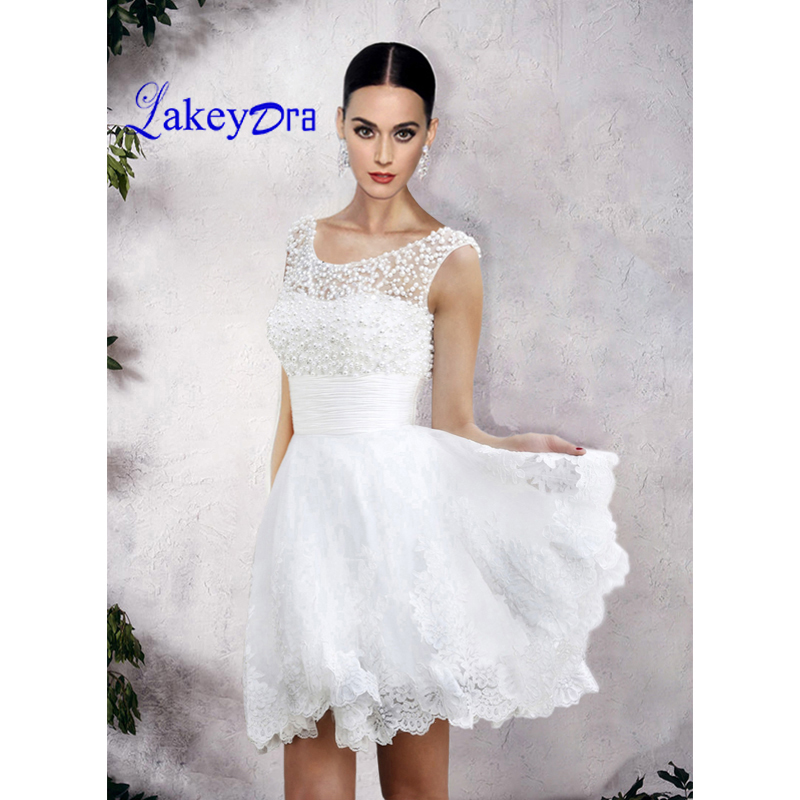 Lakeydra Pearls Mini Homecoming Dresses Scoop Neck Tulle with Sleeveless Appliques A Line Short Party Prom Gown Graduation Dress