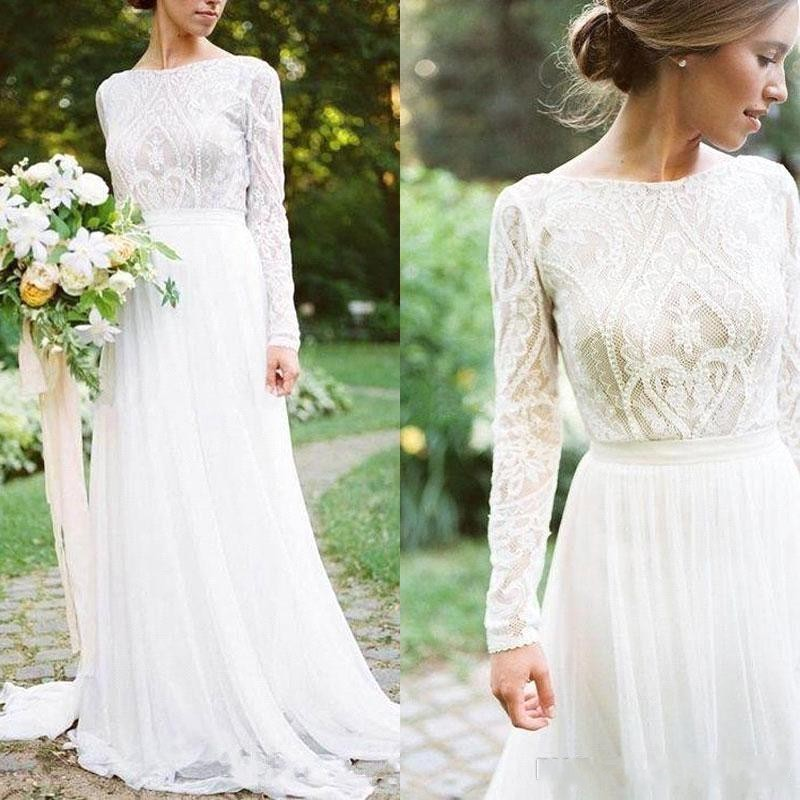 Chiffon Bohemian Country Wedding Dresses With Long Sleeves Bateau ...