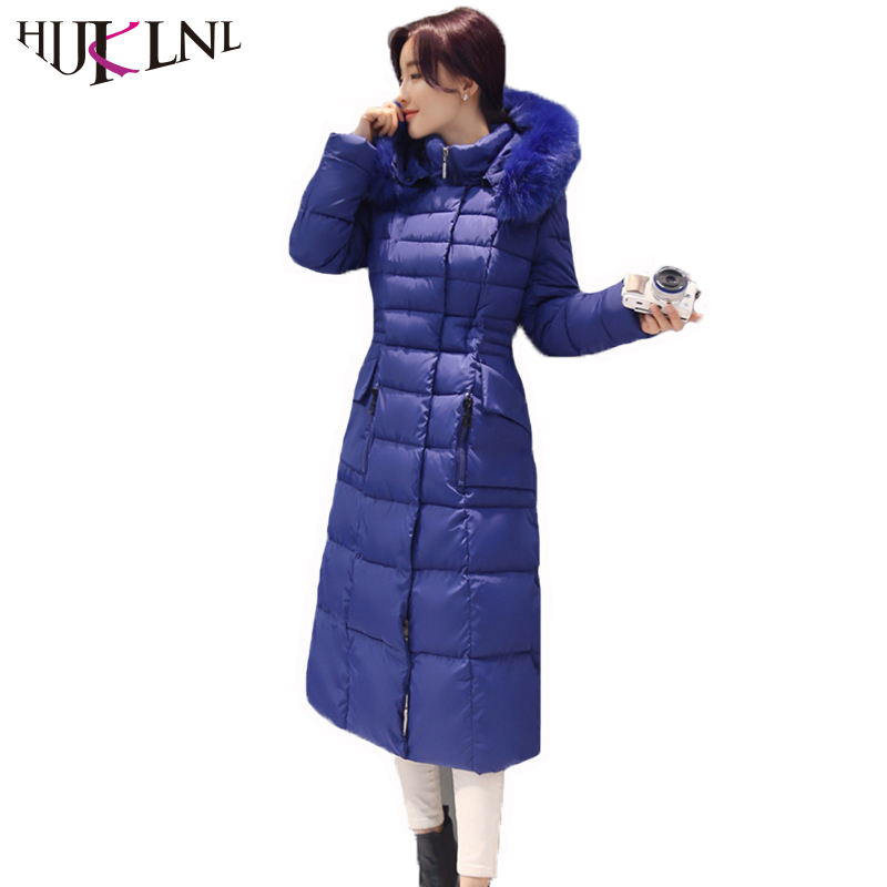 HIJKLNL Plus Size 4XL Winter Jacket Women Long Thick Cotton Jacket 2017 New Hooded Fur Collar Parka Coat Padded Overcoat NA471 2017 new winter women winter women in the long section of thick cotton coat fur collar jacket cold winter jacket size m xxl