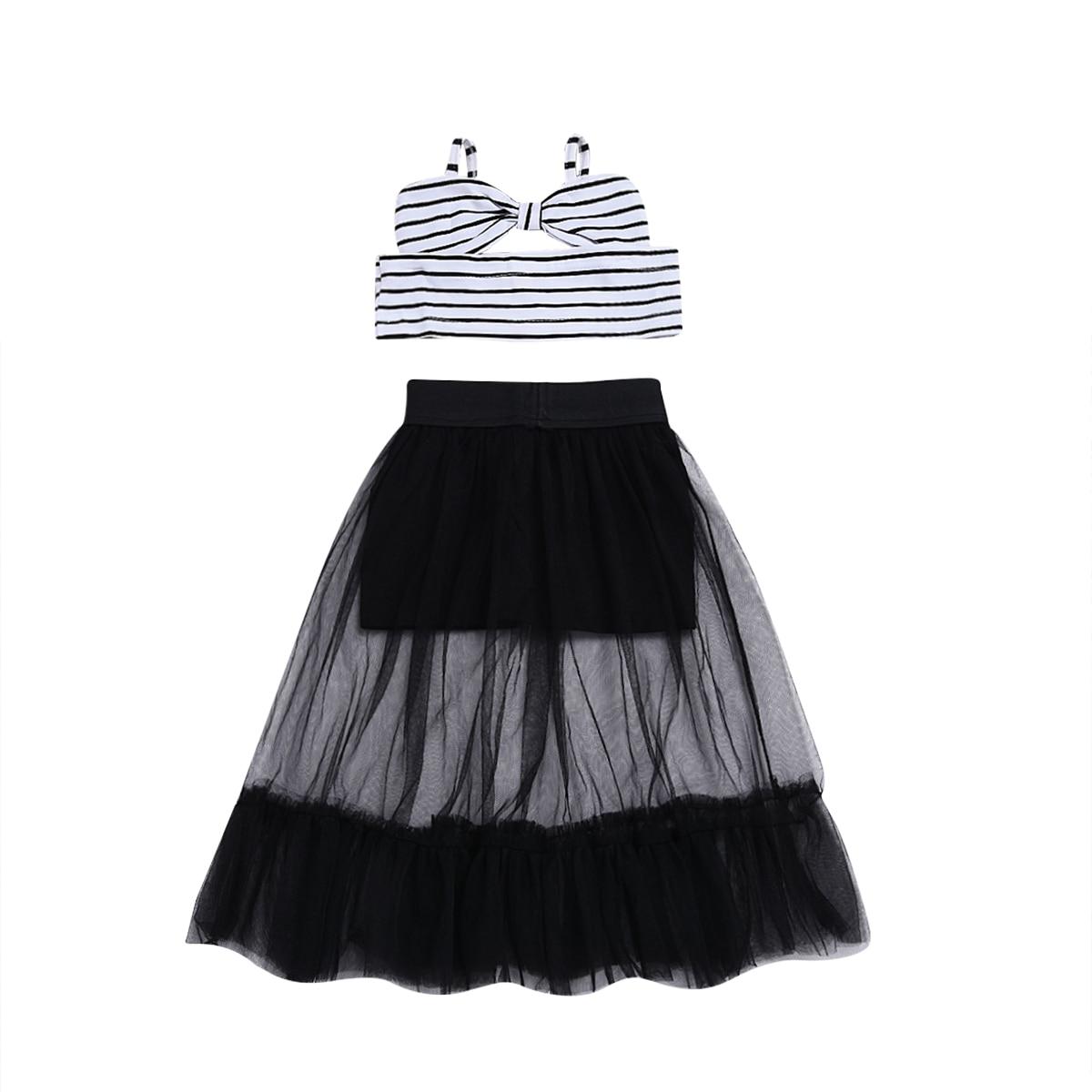Kids Baby Girl Stripe Off Shoulder Crop Top Striped Tops Tulle Tutu Skirt Dress Outfit Toddler Girl Summer Clothing Set
