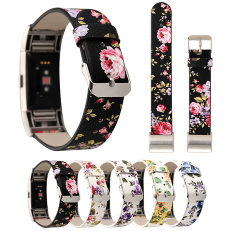 SIKAI New Pattern Leather Watch Bracelet For Fitbit Charger 2 Smartwatch Band Strap Floral Watch Bands Colorful Straps Relogio