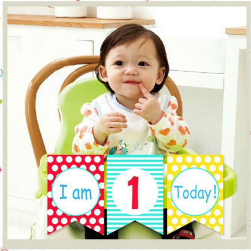 Boy Girl First Birthday Cardboard blue red yellow High Chair Flag Banner Baby One Year Old Birthday Hanging Decoration