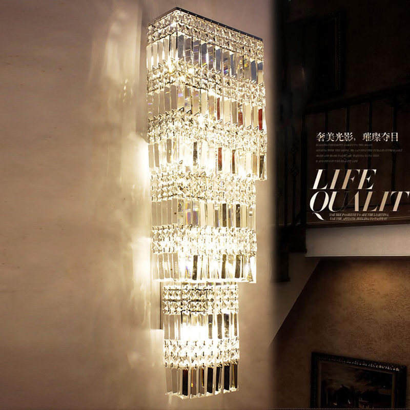 Lobby luxury Crystal Wall light led hotel project large crystal wall l& living room wall sconce villa penthouse floor corridor-in Wall L&s from Lights ... & Lobby luxury Crystal Wall light led hotel project large crystal wall ...