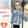 New 2016 spring /autumn female Children Outerwear Kids Fashion  jacket pearl denim outerwear high-quality