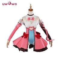 DVA Cosplay D VA Game OW Kawaii Girl UWOWO Pink Dress Costume Magic Girl D Va