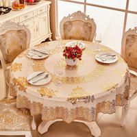NIOBOMO European style bronzing PVC table cloth waterproof round plastic table cloth for Home Table Cover