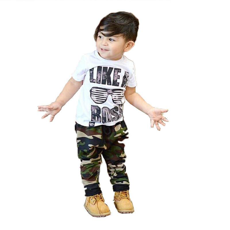 Casual Like a Boss Kids Summer Outfits Toddler Baby Kids Boys Camouflage Clothes Set T-shirt Tops+Long Pants 2PCS Outfits