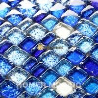 unique irregular baroque mixed blue glass mosaic tiles for bathroom shower tiles kitchen backsplash tile HMGM0001