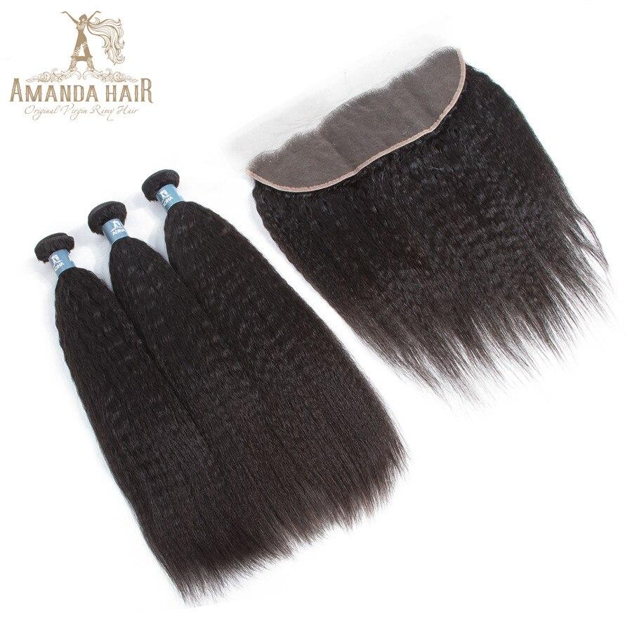 Salonpackung-haarbündel Haarverlängerung Und Perücken Treu Amanda Brasilianische 100% Reine Haarwebart Bundles Mit Frontal Verschluss Verworrene Gerade Haar