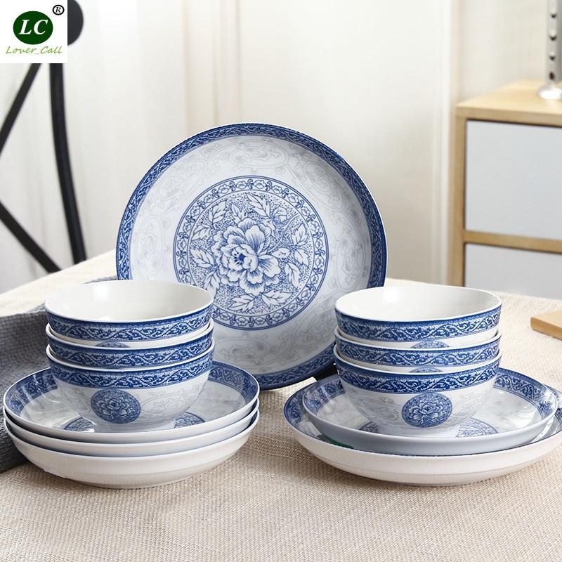 Dinnerware Set Tableware 12pcs Blue And White Porcelain Plates