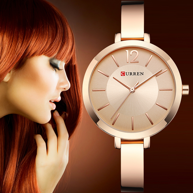 CURREN Rose Gold Women Watch Ladies Steel Quartz Watch Women's Bracelet Watches