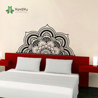 Yoyoyu Decal media mandala pared sticker Decal flor vinilo bohemio cabecera Decoración para el hogar DIY dormitorio Tallados pared y022