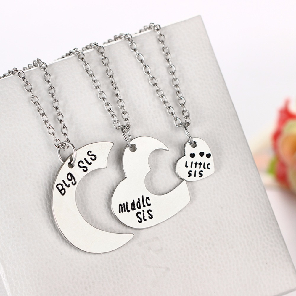 little sis Heart Personalized Hand Stamped big sis middle sis little sis 3 Sister  Necklace Family Jewelry Sisters Gift-in Pendant Necklaces from Jewelry &  Accessories ...