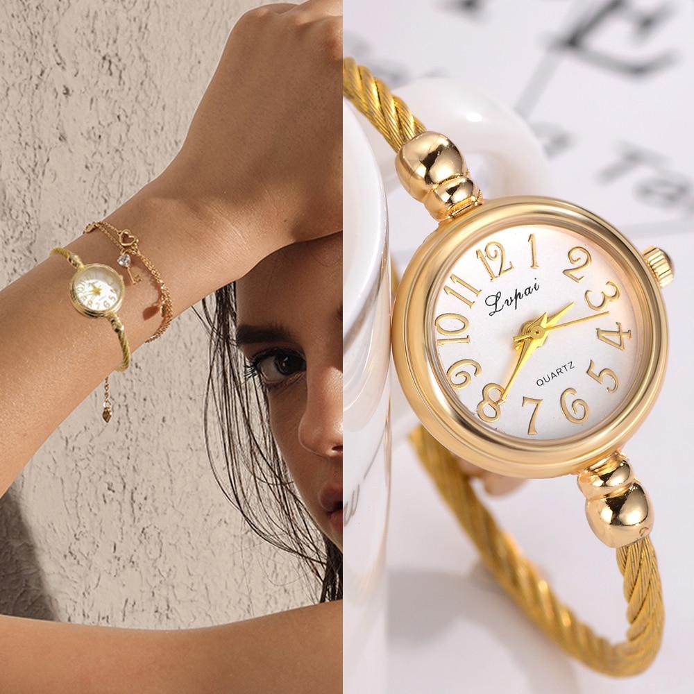 bd9ef8b84886 Lvpai Simple relojes de mujer pequeño brazalete de oro pulsera de lujo reloj  2018 moda marca romano Dial Retro damas pulsera regalo