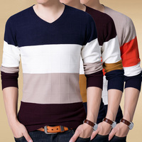 New Year's Casual Wear V neck Pullovers Red Yellow Strip Sweaters Men 2017 Fashion Design Pullover Men Sweater Male Size S~2XL