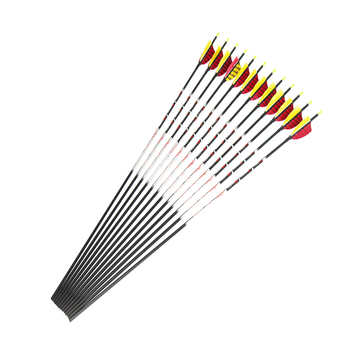 """12pcs 100% pure Carbon arrow Spine900 ID4.2 with Pin Nock 80/100/120GR target point 3/4/5"""" stripe turkey fletching feather"""