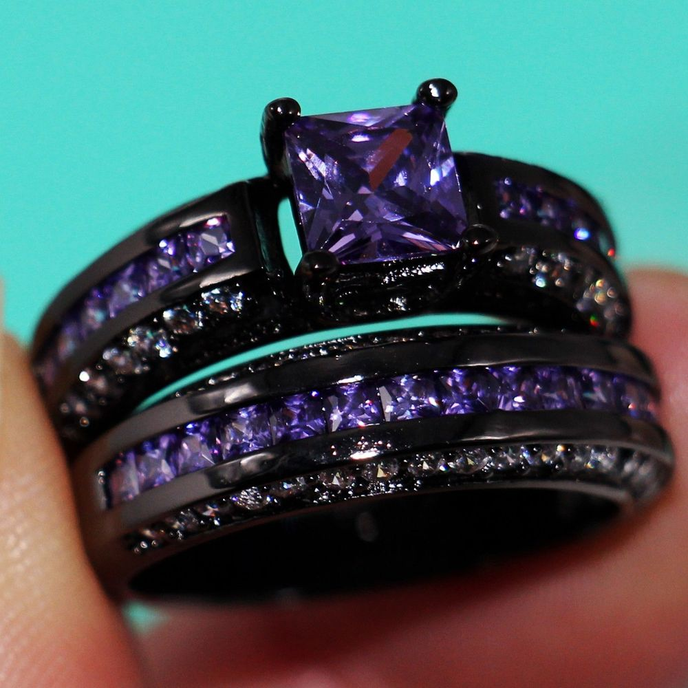 11 Princess Cut Jewelry Cookia 10kt Black Gold Filled  Purple 5a Cz Simulated Stones Wedding Engagement Ring Set