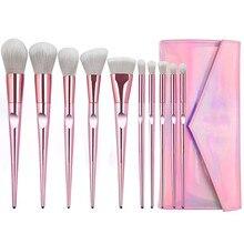 10pcs Luxury Pink Handle Makeup brushes set Beauty Make up brush & 1PC Cosmetic bag women blush Powder Foundation Brush