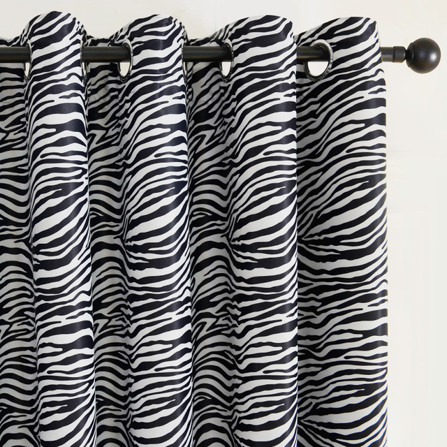 Black and White Zebra Print Curtain for Living Room Bedroom Blackout  Curtains Drapes Wide Style Animal