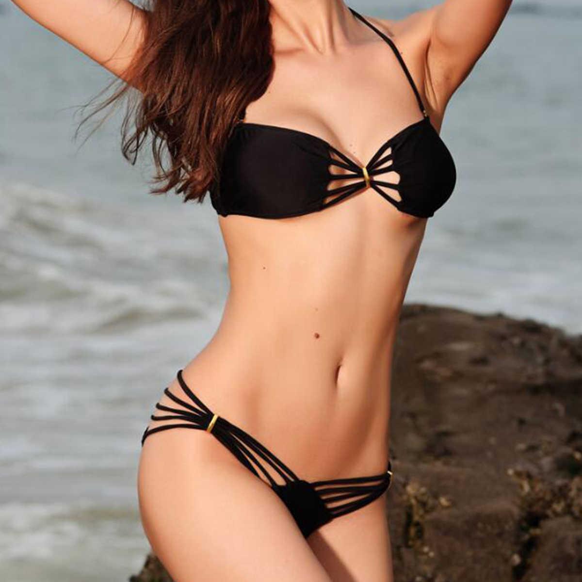 Wanita Sexy Perban Haltter Micro Brasil String Thong Pakaian Renang Mandi Bikini Set Pakaian Renang Cocok untuk Baju Renang