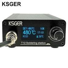 KSGER T12 OLED stacja lutownicza T12 żelazne końcówki STM32 DIY zmontowane zestawy plastik ABS FX9501 uchwyt elektronarzędzia spawanie ogrzewanie