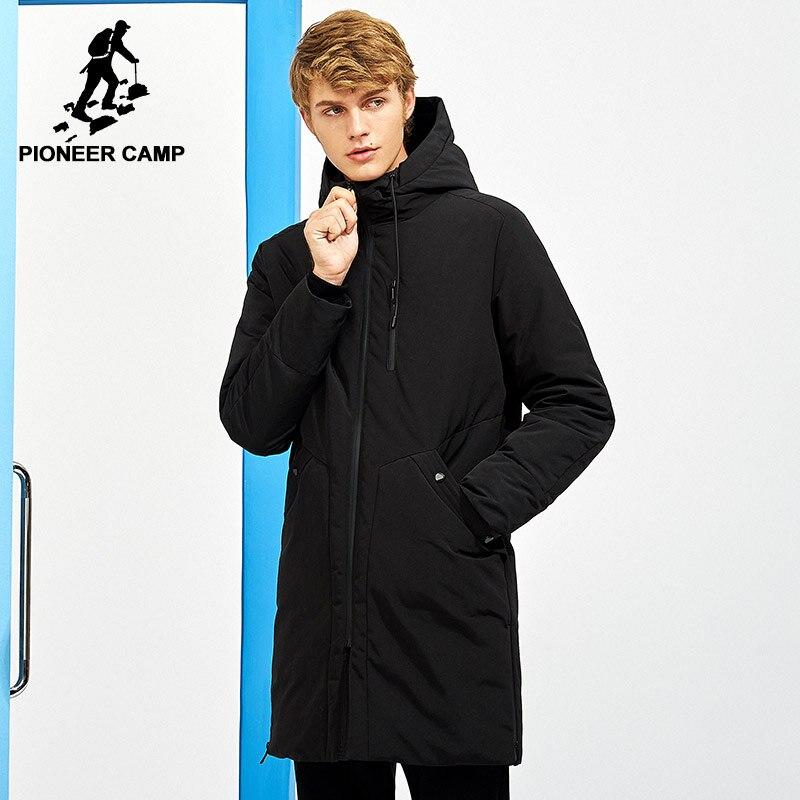 Пионерский лагерь новые толстые зимние мужские пуховики брендовая одежда с капюшоном черные сплошные длинные теплые пуховики с белым утин...