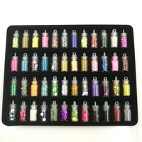 New 48 Bottles Set Mini Colorful Sequins Powder Series Nail Glitter Powder Nail Beads Acrylic UV
