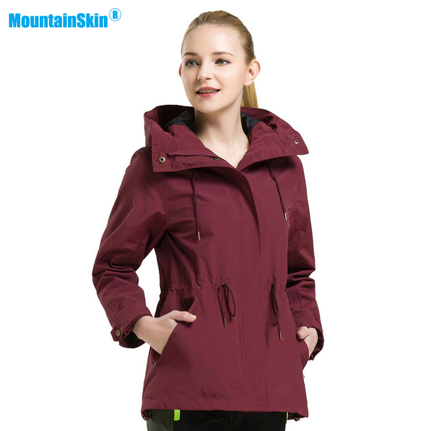 Mountainskin Women Lengthened Thermal Jackets Outdoor Waterproof Coats Hiking Climbing Trekking Camping Female Windbreaker MB116