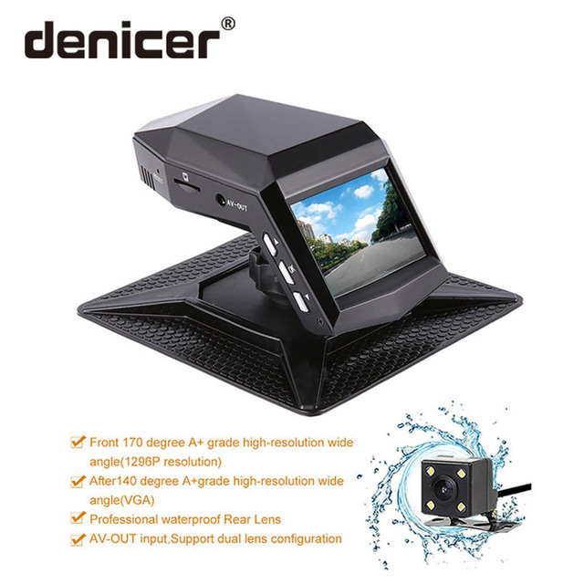 Denicer Full HD 1080P Dual Lens Dash Cam Novatek 96658 DVRS 170 Degree Wide Angle Car Video Recoder With G-sensor Rear Camera