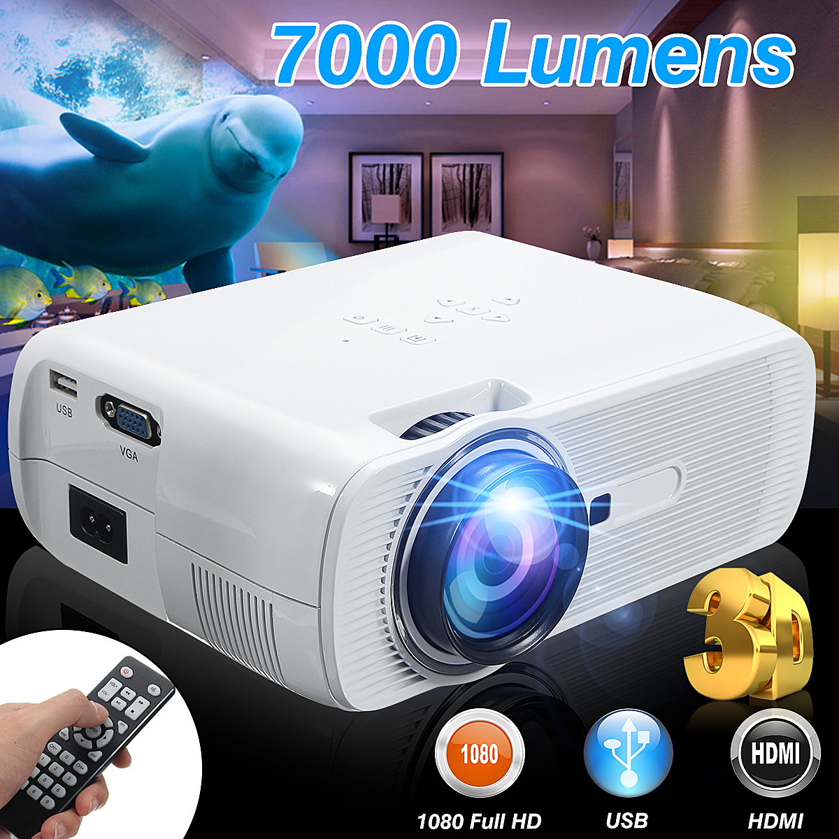 7000 Lumens HD LED Projecteur 3D Grand Écran Home Cinéma Cinéma LCD Sans Fil HDMI AV/VGA/USB/SD/HDMI/TV Multimédia Beamer