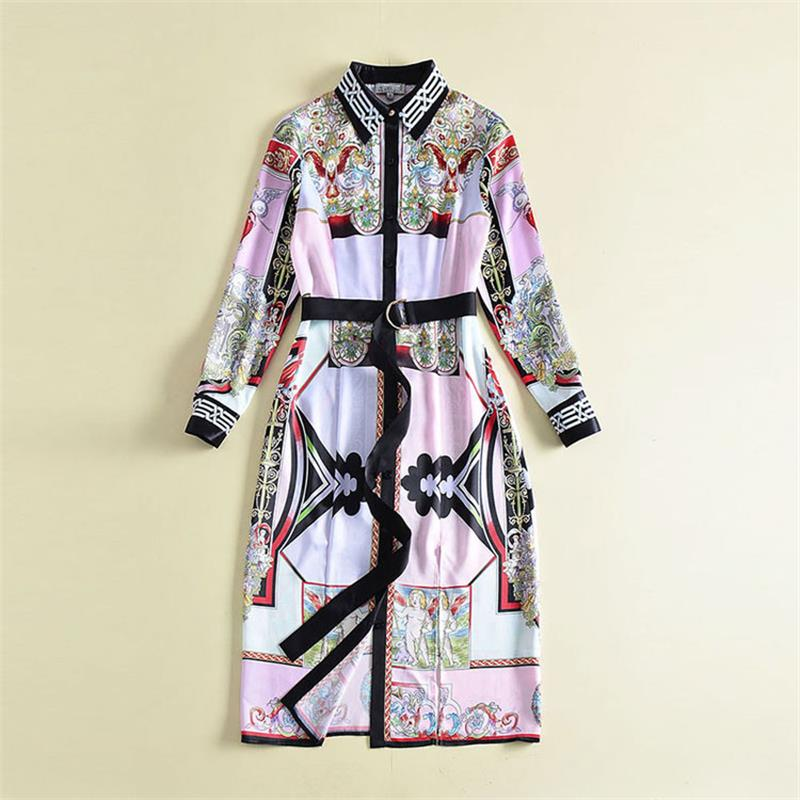 Women Dresses 2018 High Quality New Runway Dress Turn Down Collar Long Sleeve Printed Sashes Front