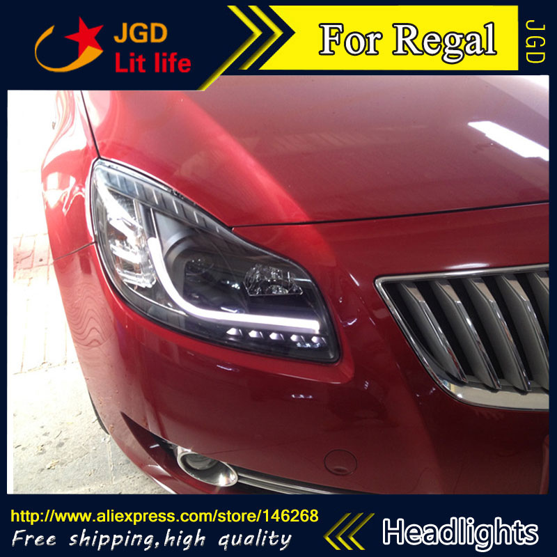 Free shipping ! Car styling LED HID Rio LED headlights Head Lamp case for Buick Regal 2009-2013 Bi-Xenon Lens low beam 2016 stainless steel car styling front cup holder panel sequins for buick regal 2009 2016 car accessories decoration sequins