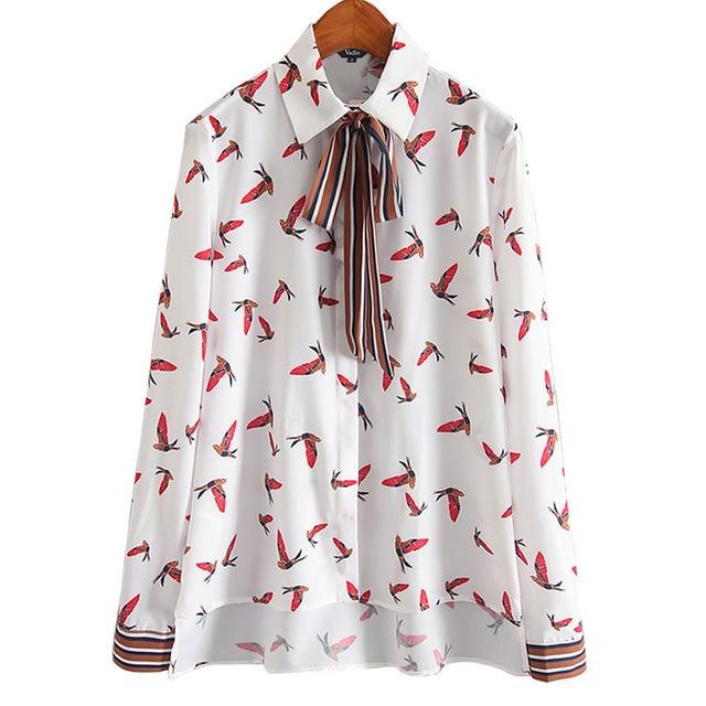Vadim mujeres birds impresión básica desgaste de la oficina camisas rayadas pajarita blusa feminina blusa linda manga larga tops LT622