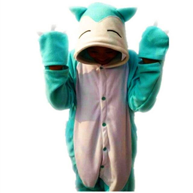 cee5bbae30 Japanese anime Poke mon fat Cute Snorlax Onesie Cosplay Fleece Sleepwear  Pajamas Halloween Baby adult Kid Jumpsuit sleepwear