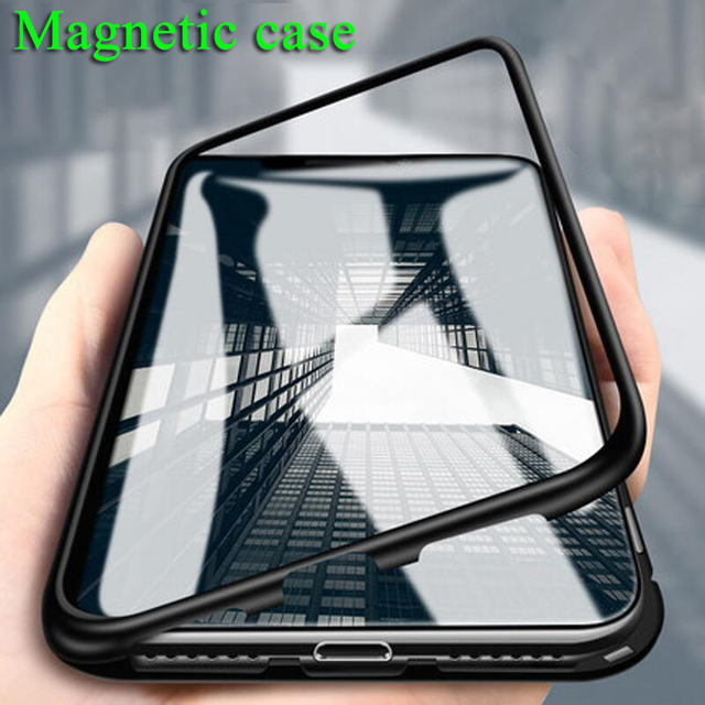 the best attitude 42dc0 d2252 US $4.99 |Magneto Magnetic Adsorption metal case for iphone X iphone 7 8  case luxury cover for iphone 8 7 Plus magnet tempered glass cases-in Fitted  ...