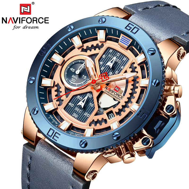 NAVIFORCE New Luxury Brand Watches Military Quartz Watch For Men Chronograph Leather-womens Waterproof Men's Watch