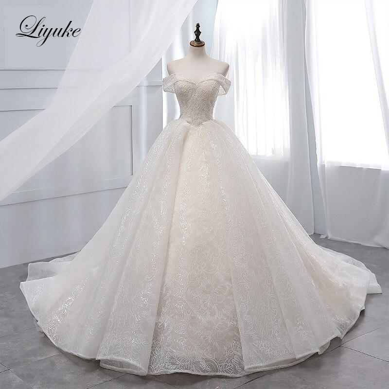 Liyuke Vintage Light Champagne Ball Gown Wedding Dress Sequin Organza Chapel Train Lace Up Bridal Dress