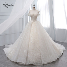Liyuke Vintage Light Champagne Ball Gown Wedding Dress Sequin Organza Chapel Train  Lace Up Bridal Vestido de boda 2019